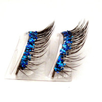Natural Sea Blue Glitter Faux Lashes by BedazzledbyErin on Etsy