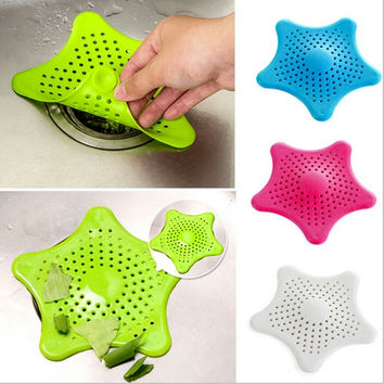1pcs Bathroom Shower Drain Cover Starfish Hair Filter Sink Strainer = 1945700420
