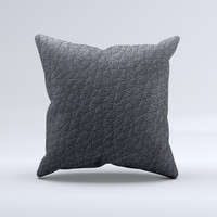 Black Leather ink-Fuzed Decorative Throw Pillow