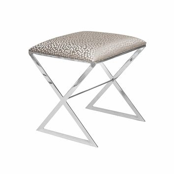 X Bench Side Stool in Nickel with Silver Fabric