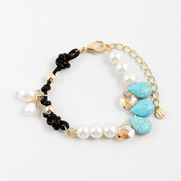 Modern Pearl and Leather Hand Knotted Bracelet with Pearl and Citrine Accents