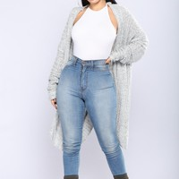 Shanit Split Back Cardigan - Grey