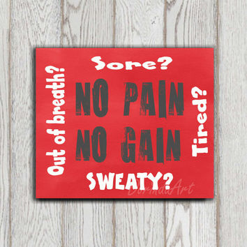 No pain no gain Fitness print Inspirational quote printable Subway sign Red Gym poster Typography Dorm wall art Motivational poster Download