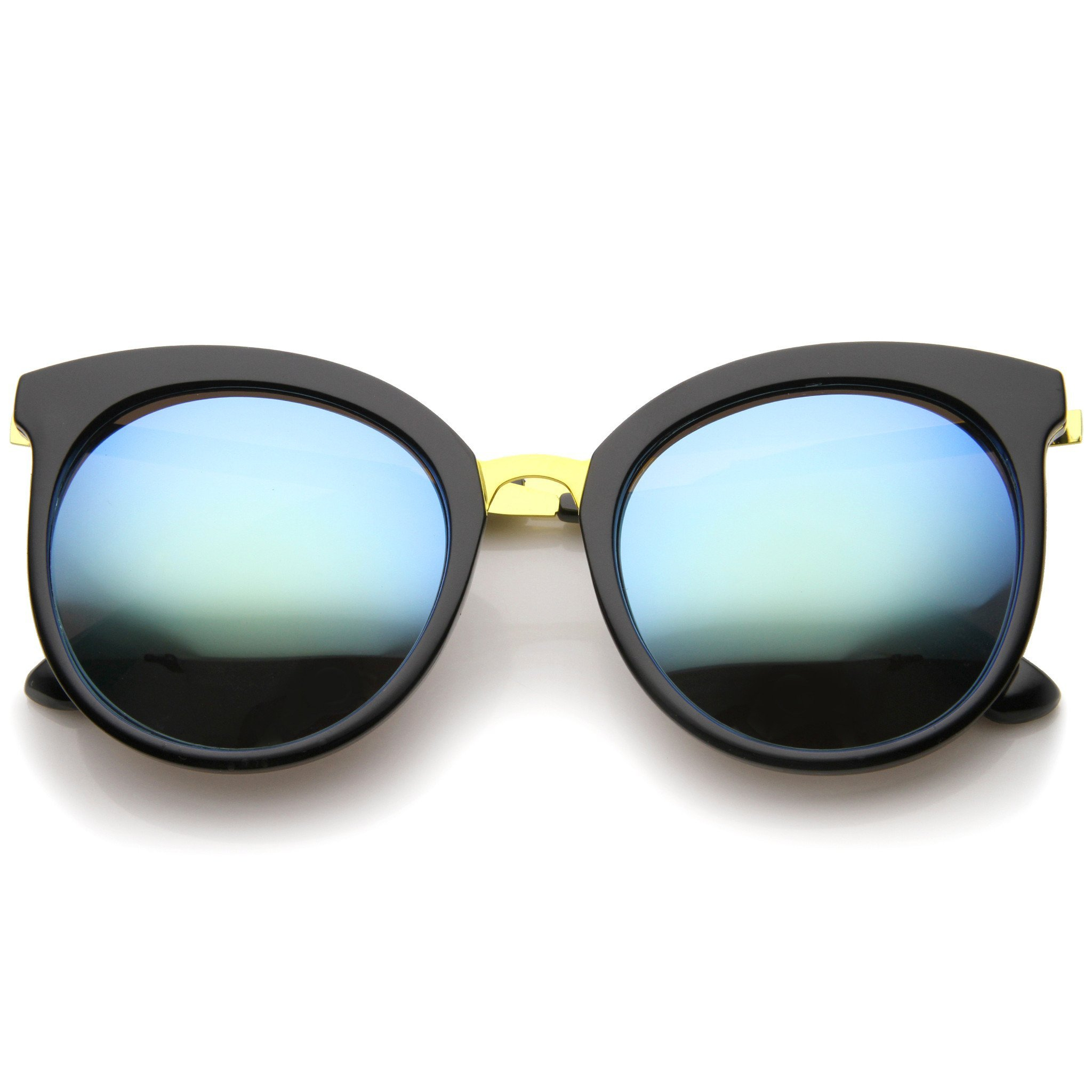 Image of Women's Oversize Cat Eye Mirrored Lens Round Sunglasses A229