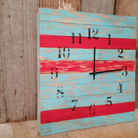 Shabby chic aqua and red clock bedroom office cottage style home decor aged rustic bedroom wall hanging shower  birthday christmas gift