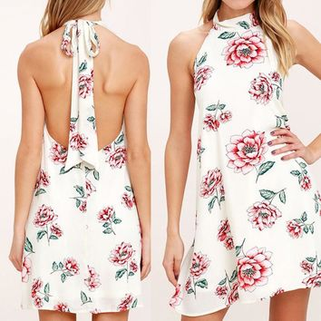 High Collar Backless Floral Print Party Dress