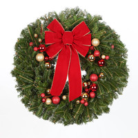 24 in. Red Bow - Real, Live Fraser Fir Christmas Wreath (Fresh-Cut)