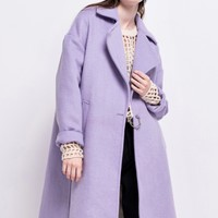 FRS Lilac Wool Rich Overcoat With Drop Shoulder