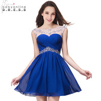 Cute Short Chiffon Royal Blue Red Sheer Beaded Crystal Homecoming Dresses 2017 Sleeveless 8th Grade Graduation Dresses Prom Gown