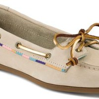 Sperry Top-Sider Audrey Satin Trimmed Slip-On Boat Shoe Ivory, Size 5M  Women's Shoes