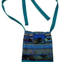 Cross Body Hip Purse in Peacock Prints