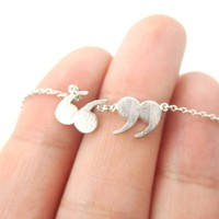 Quotation Marks Inverted Commas Shaped Charm Necklace in Silver   DOTOLY
