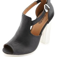Two-Tone Cut-Out Peep Toe Heels by Charlotte Russe - Black