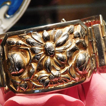 Art Nouveau Repousse Bracelet Wide Hinged Cuff Bangle 1900s  Antique Victorian Bracelet Gold Wash Roses Daisies Flowers Embossed Jewelry