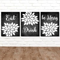 EAT DRINK Be Merry Wall Art, Farmhouse Kitchen Decor Canvas or Prints Farmhouse Chalkboard Wall Decor, Kitchen Quote Pictures, Set of 3