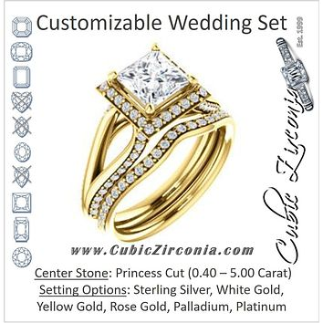 CZ Wedding Set, featuring The Gabrielle Mia engagement ring (Customizable Princess Cut Design with Halo & Accented Three-sided Wide Split Band)