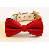 Red Dog Bow tie Wedding collar , Wedding dog collar