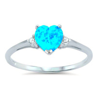 .925 Sterling Silver Light Blue Opal Heart Kids and Ladies ring size 4-12