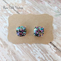 Glitter Stud Earrings - 5 colors available