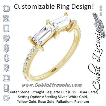 Cubic Zirconia Engagement Ring- The Minerva (Customizable Enhanced 2-stone Straight Baguette Cut Design with Ultra-thin Accented Band)