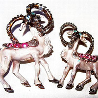Aries Ram Scatter Pin Brooche Set Pink Blue Rhinestones & Gray Enamel Silver Metal Vintage
