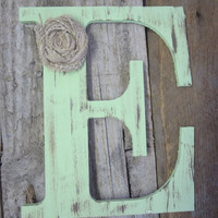 Green letter E Rustic Chic Wooden Letter burlap flower distressed primitive