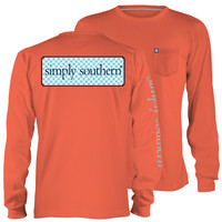 Simply Southern Collection Classic Logo Girlie Bright Long Sleeve Pocket T-Shirt
