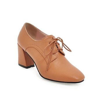 Ladies Lace Up Chunky Heels Oxford Shoes