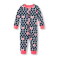 Baby And Toddler Girls Long Sleeve Heart Print Stretchie | The Children's Place