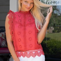 Afternoon Tea Embroidered Blouse : Rust