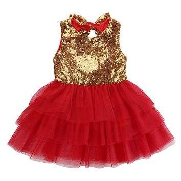 Baby Flower Girl Sleeveless Dress Tulle Party Formal Bridesmaid Backless bow-knot Dresses