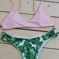 Pink Bralette Top X Tropical Leaf Print Bottom Mix And Match Swimwear
