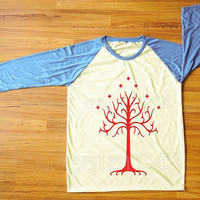 Red Tree T-Shirt Lord of The Rings T-Shirt Gondor T-Shirt Blue Sleeve Tee Shirt Women Shirt Men Shirt Unisex Shirt Baseball Tee Shirt S,M,L