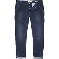 River Island MensBlue distressed rolled up slim chinos