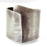 Sterling Silver Ring: Organic Free-Form Wide Band Silver Ring with Blackened/Brushed Finish