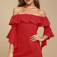Showcase Your Talent Red Off-the-Shoulder Dress