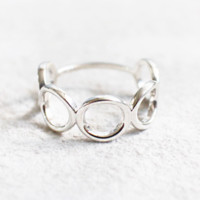 925 Sterling Silver open Circles Geomatric Statement Ring
