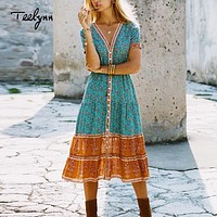 Short Sleeve Boho Hippie Dress