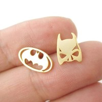 Batman Dark Knight gift Christmas 30Pcs/lot 2016 New Batman Themed Bat Mask and Logo Shaped Stud Earrings in Silver DC Comics Super Heroes Themed Jewelry ED076 AT_71_6