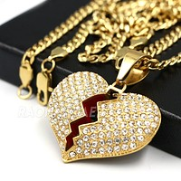 316L Stainless Steel Hip Hop Broken Heart Pendant w/ 4mm Cuban Necklace Set