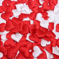 100pcs Fabric Heart 3.5x3.5cm / 2x1.5cm Wedding Party Confetti Table Decoration birthday party Decorative Supplies