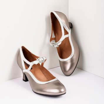 Royal Vintage 1920s Style Silver & Bronze Roxy Leather Mary Jane Heels