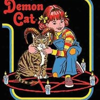 Caring For Your Demon Cat Magnet | '80s Children's Book Style Satirical Art