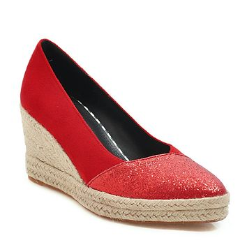 Sequined Women Shoes Spring Autumn High Heel 33-44 Stitching Wedges