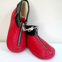 1950s Red Leather Booties Mrs. Day's Ideal Shoes Unisex Size 7 New Vintage