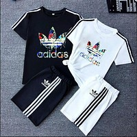 """Adidas""Unisex Lover Leisure Fashion Letter Personality Printing Spell Color Short Sleeve Shorts Two-Piece Set Casual Wear"