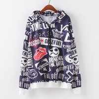 Women's Fashion Strong Character Print Casual Pullover Hoodies [9101518215]
