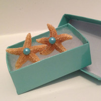 Aquamarine Real Starfish Earring by byElizabethSwan on Etsy