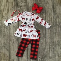 new Christmas fall/winter baby girls moose plaid outfits black red ruffles pants children clothes boutique match accessories set