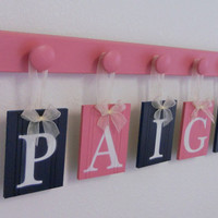 Baby Nursery Decorating Ideas and Gifts, Set Includes 5 Hooks and Babies Name PAIGE - Pink and Navy Baby Girls Room Wall Decor
